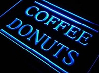 Coffee Donuts Cafe Open Dispaly Neon Light Sign
