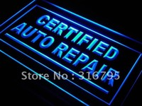 Certified Auto Repair Neon Sign (Light Car Shop LED)