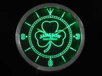 Jameson Shamrock Beer Bar Whisky Neon Sign LED Wall Clock