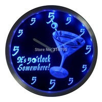 It's 5 O'clock pm Somewhere Cocktails Bar Beer gift Neon LED Wall Clock