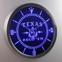 Texas Hold'em Poker Casino Neon Sign LED Wall Clock