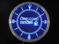 Cappuccino Espresso Coffee Neon Sign LED Wall Clock