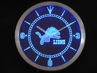 Detroit Lions Neon Sign LED Wall Clock