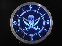 Pirates Skull Head Bar Pub Beer Neon Sign LED Wall Clock