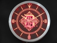 Detroit Tigers Neon Sign LED Wall Clock