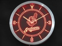 Cleveland Indians Neon Sign LED Wall Clock