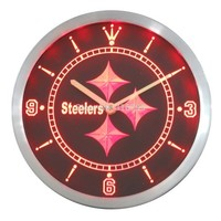 Pittsburgh Steelers Neon Sign LED Wall Clock
