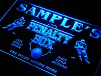 Name Personalized Custom Hockey Penatly Box Bar Beer Neon Sign