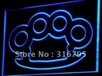 Knuckles Brass Weapons Bar Pub LED Neon Light Sign