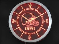 Cleveland Browns Neon Sign LED Wall Clock