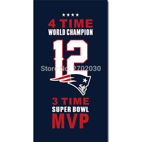 12 Tom Brady Free Brady New England Patriots Flag Banners Football Team 3ft X 5ft Banner Super Bowl 4 time world champion Flag