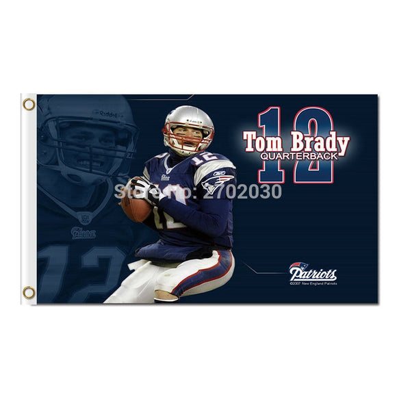 12 Th Tom Brady Quarterback Flag Super Bowl World Series Champions Football Sport Banner 90 X 150 Cm New England Patriots Flag