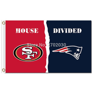 San Francisco 49ers Flag Vs New England Patriots Flag World Series Football Team Banner House Divided 3x5ft