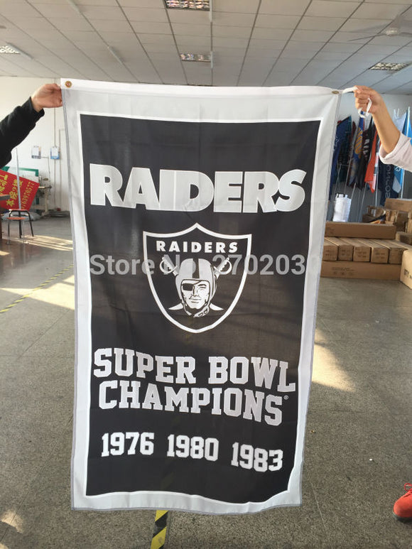 Super Bowl Champions Team Flag Oakland Raiders Banner Flag World Series Fan 3ft X 5ft Banner Super Bowl Champions Raiders Flags