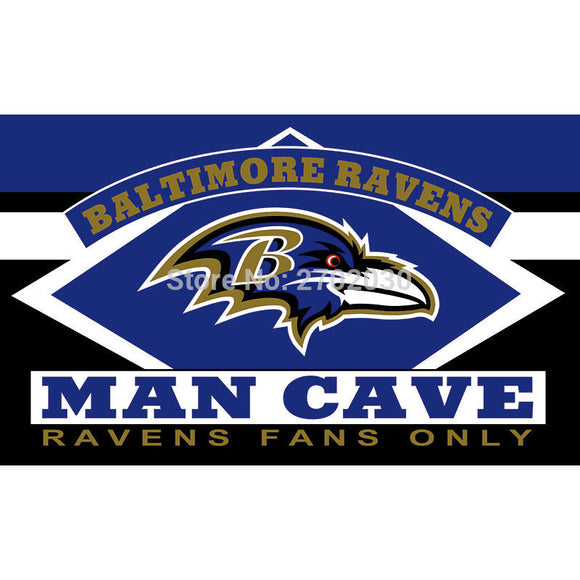 Baltimore Ravens Fans Only Flag MAN CAVE Banner Flag World Series Football Team 3ft X 5ft Banners Baltimore Ravens Flag