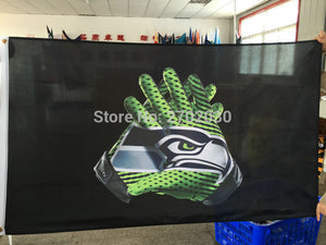 Seattle Gloves Flag Super Bowl Champions World Series Football Premium Team Custom 3ft X 5ft Gloves Seattle Banners