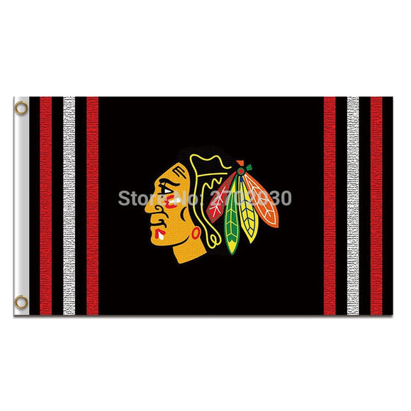 Black Chicago Blackhawks Flag Ice Hockey Jerseys Flag 3ft X 5ft Custom Banner Chicago Blackhawks Flag Blackhawks