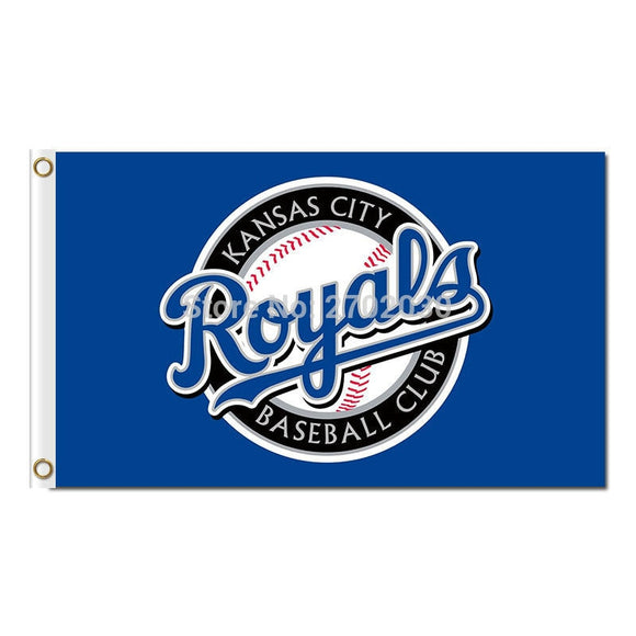 Blue Badge Design KC Kansas City Royals Flag Baseball Fans Team Banners Flags World Series Champions Banner 3x5 Ft Polyester