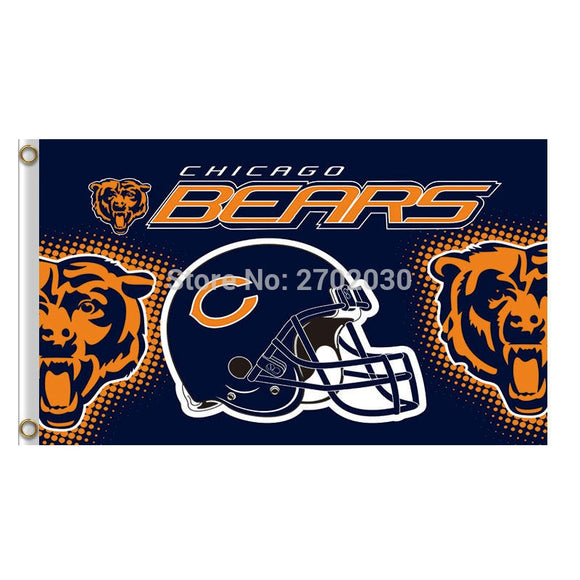Helmet Chicago Bears Flag Sport Banners Football Team Flags Super Bowl Champions Banner Bear 90x150 Cm Hand Flag World Series