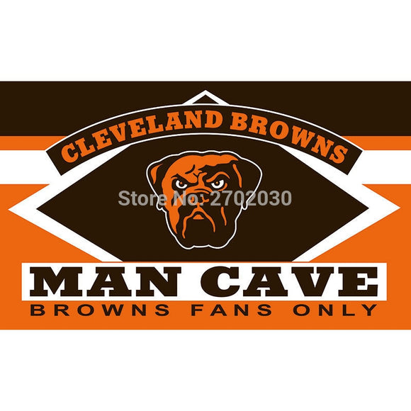 Cleveland Browns Fans Only Flag MAN CAVE Banner Dog Flag World Series Football Team 3ft X 5ft Banners Cleveland Browns Flag