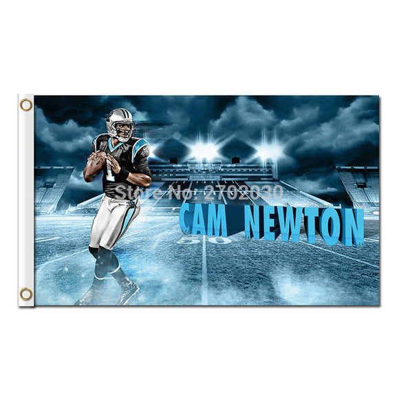 CAM NEWTON Carolina Panthers Flag Football Team 3 X 5ft World Series Banners Champions Carolina Panthers Banner 100D Polyester