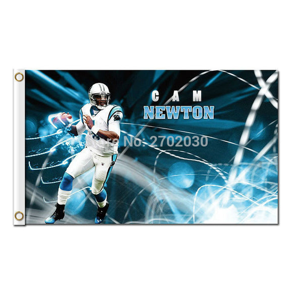 Cam Newton Carolina Panthers Flag Football Team 3ft X 5ft Banners Super Bowl Champions Carolina Panthers Banner 100D Polyester