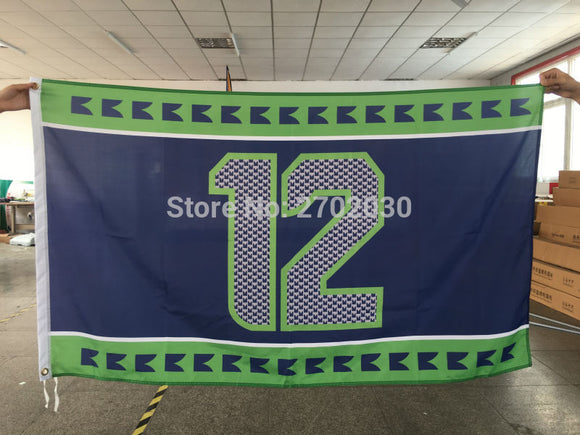Seattle 12th MAN Outdoor Banner Flag 3ft X 5ft NF*L World Series Football Team 3ft X 5ft Seattle 12th Flag