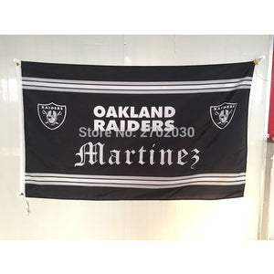 Old English Font MARTINEZ Oakland Raiders Flag 3ft X 5ft Polyester Banner RAIDER NATION MARTINEZ Banner Raiders Flag