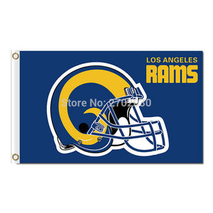 Helmet Los Angeles Rams Flag Super Bowl Champions Fan Flag 3ft x 5ft Football Team Helmet Rams Banner