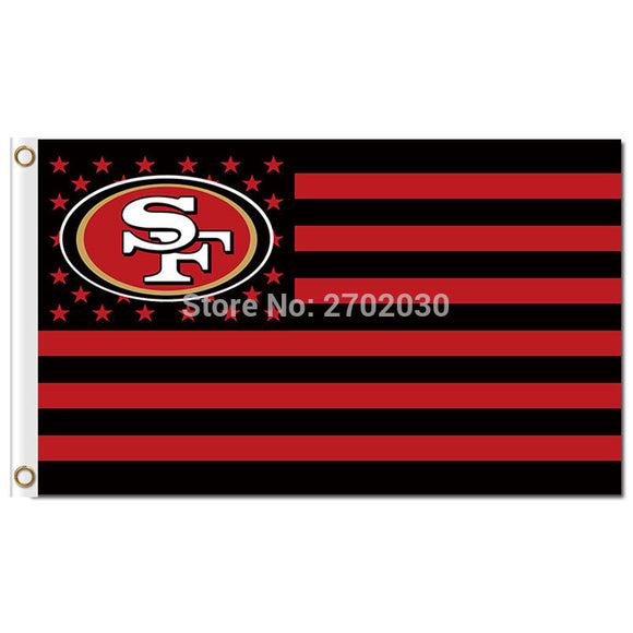 San Francisco 49ers Logo Flag With Stripes 3ftx5ft Banner 100D Polyester Flag Metal Grommets 90x150cm San Francisco 49ers Flags