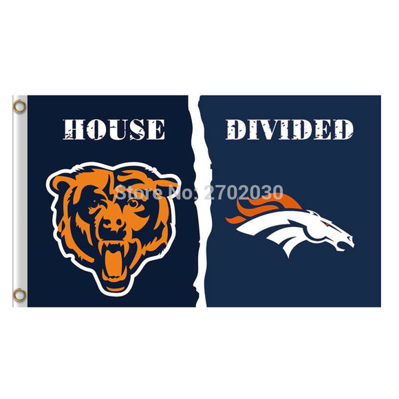 Chicago Bears Flag vs denver broncos Banners Football Team Flags 3x5 Ft Super Bowl Champions Banner 90x150cm Bear