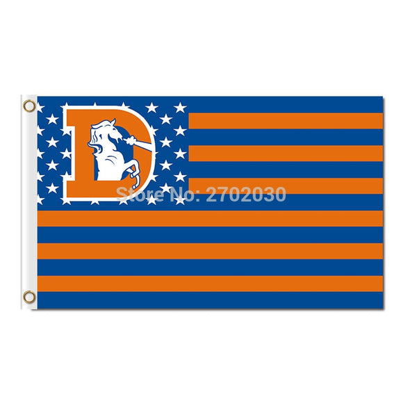 US Banner Usa Old Logo Denver Broncos Flag NF*L Flag Orange Wild And Broncos Blue 3 Ft X 5 Ft 100 D Polyester Broncos Banner