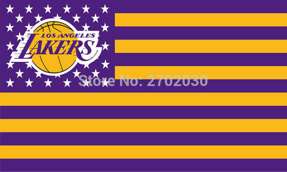 Los Angeles Lakers Basketball Team 90*150cm Sports Fan Flag Banners 100D Polyester With Metal Gromets White Sleeve