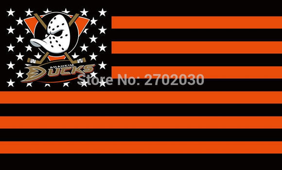 Anaheim Ducks Ice Hockey Sports Team Star & Stripe Us National Flag 3ft X 5ft Custom Banner With Sleeve Two Gromets 90*150CM