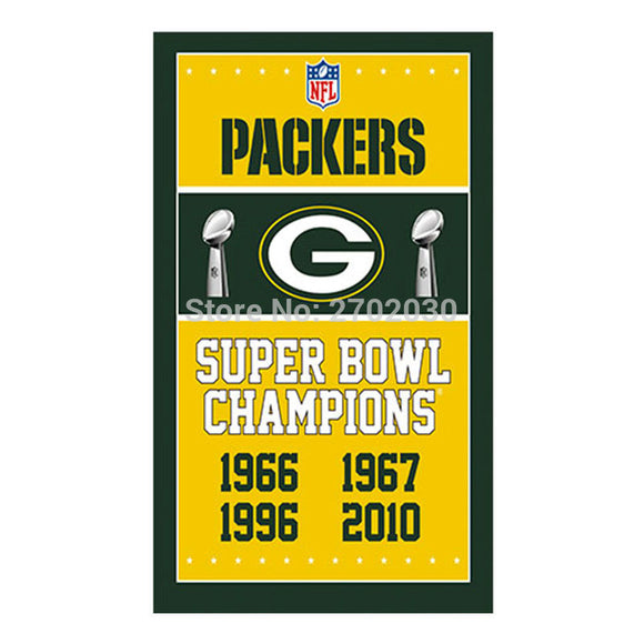 Yellow Design Green Bay Packers Flag Banners Football Team Flags 3x5 Ft Super Bowl World Champions Banner Decoration