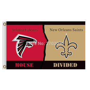 Atlanta Falcons Flag Vs New Orleans Saints Banner World Series Football Team 3ft X 5ft House Falcons And Orleans Saints Flag