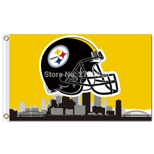14b71d3c Pittsburgh Steelers Helmet Flag City Skyline NF*L Flag 3x5 Ft Custom Banner  Sport Helmet Flag Pittsburgh Steelers Banners