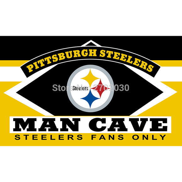 Pittsburgh Steelers Fans Only Flag MAN CAVE Banner Flag World Series Football Team 3ft X 5ft Banners Pittsburgh Steelers Flag