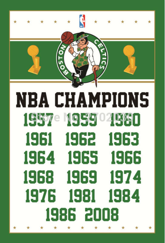 Boston Basketball Team 90*150cm Flag Banners Home Decoration 100D Polyester 3*5ft with Metal Gromets Sleeve