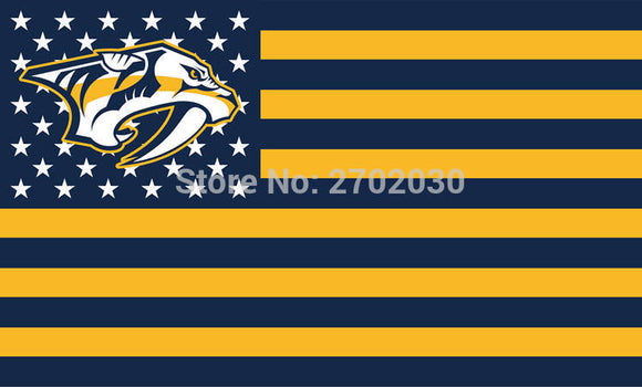 Nashville Predators Hockey Sports Team Star & Stripe US National Flag 3ft X 5ft Custom Banner With Sleeve Two Gromets 90*150CM