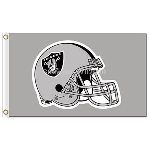 Oakland Raiders Gray Helmet Flag Jersey 3ft X 5ft Premium Team Banner World Series Colors Oakland Raiders Gray Helmet Flag