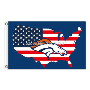Us Flag Denver Broncos Flag World Series Super Bowl Champions 3ft X 5ft Star And Stripe 3x5 FT Broncos Usa Banner