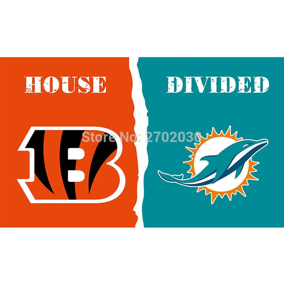 Cincinnati Bengals Flag Vs Miami Dolphins Super Bowl Champions Football Team Fan 3ft X 5ft Banner 100D Polyester