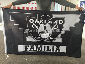 FAMILIA Flag Oakland Raiders Banner World Series Premium Team Custom Colors 3ft X 5ft Colours FAMILIA Oakland Raiders Flag