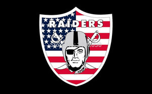 Oakland Raiders American Flag 3ft X 5ft Polyester Banner White Sleeve RAIDER  Banner All Football Fan Oakland Raiders 009
