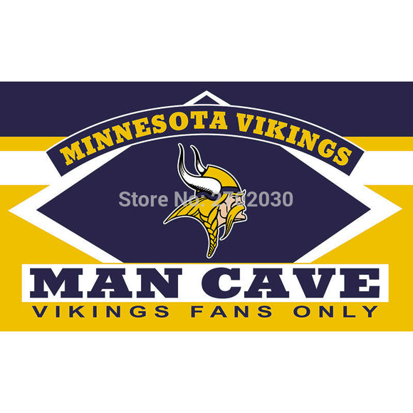 Minnesota Vikings Fans Only Flag MAN CAVE Banner Flag World Series Football Team 3ft X 5ft Banners Minnesota Vikings Flag