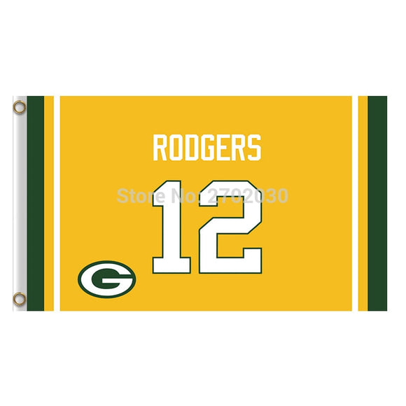 12 Th Rodgers Custom Green Bay Packers Flag Banners Sport Football Team Flags 3x5 Ft Super Bowl Champions Banner 90 X 150 Cm