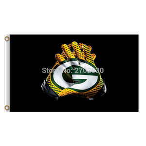 Gloves Design Green Bay Packers Flag Banners Sport Football Team Flags 3x5 Ft Super Bowl Champions Banner Fans World Series