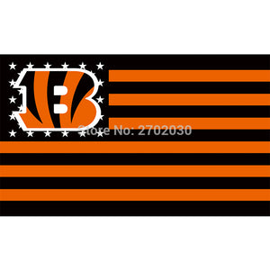 Black Strip Us Usa Country Cincinnati Bengals Flag Super Bowl Champions Football Team Fan 3ft X 5ft Banner 100D Polyes Polyester