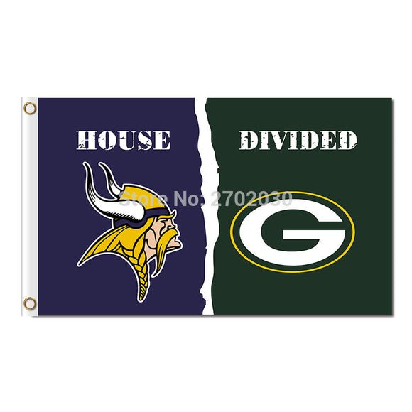 Minnesota Vikings Flag Vs Green Bay Packers Super Bowl Football Team Champions Fan World Series 3ft X 5ft Banner Polyester